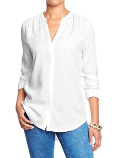 OLD NAVY Women's Split-Neck Covered-Placket Blouse in bright white, $32.94