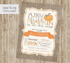 pumpkin baby shower invitations, baby shower invitation with pumpkins, fall baby…