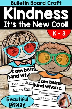 Kindness is the New Cool is a fun way to teach kids about kindness, have a terrific classroom keepsake and have fun, too! You get a cute craft to hang on your bulletin board, but you also get an anchor chart with a mentor text suggestion. Kindness Bulletin Board, Cute Bulletin Boards, Bulletin Board Display, Kindness Activities, Writing Activities, Writing Centers, Teaching Kindness, Kindness Ideas, Kindness Projects