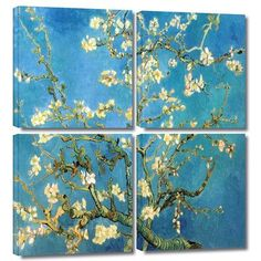 ArtWall 'Almond Blossom' by Vincent Van Gogh 4 Piece Painting Print on Wrapped Canvas Set Size:
