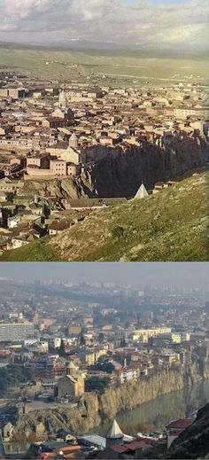 Two photographs of downtown Tblisi, Georgia, 102 years apart.