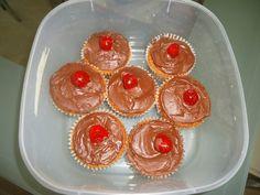 Birthday cupcakes with homemade chocolate sauce