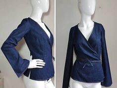 """FRENCH CONNECTION ~TOTALLY FEMME~ LIGHT-WEIGHT """"TRUE WRAP"""" DENIM JEANS TOP NWT 8"""