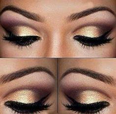 Gold eyeshadow for blue eyes.