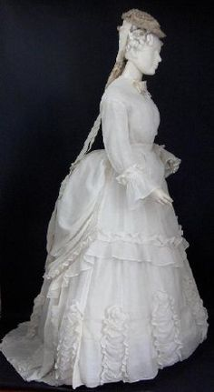 dress, wedding, linen gauze with silk trim, early 1870s, Canadian, founder's collection