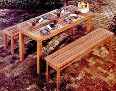 Outdoor Table and Bench Plans - Outdoor Furniture Plans & Projects | WoodArchivist.com