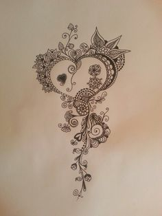 Zentangle doodle.  Rebecca Watkins.  Heart