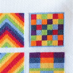 Cross Stitch Rainbow Block 7 - The Crafty Mummy