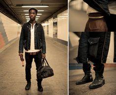 black bag, black boots.