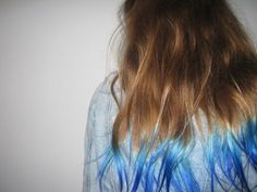 Dark Brown Hair with Blue Tips