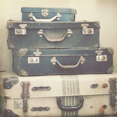 The Journey Begins - 8x8 Fine Art nostalgic and rustic Photograph of vintage suitcases - travel and adventure