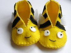 CUTE!!!!!  Bumble Bee Baby Booties by TheCraftyButtonUK on Etsy, £11.00
