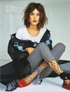 Alexa Chung in wide fishnet socks suitable for the office | Honey of California ZINE