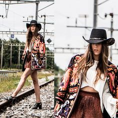 Lots of layers, and accessories add to the image. Shoes complete the outfit. H&m Shorts, H&m Jackets, Real People, Cowboy Hats, Preppy, Bohemian, Style Inspiration, Crop Tops, Punch Needle