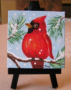 Cardinal painting small canvas art Christmas cardinal
