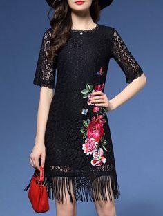 Shop Mini Dresses - Black Floral Half Sleeve Mini Dress online. Discover unique designers fashion at StyleWe.com.