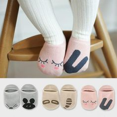 3 Pairs Cute Cartoon Cotton Baby Knee Socks Hosiery Warm Anti Slip Socks Baby Boy Girls Toddler Knee High Socks Leg 0-5y Highly Polished Foot Socks