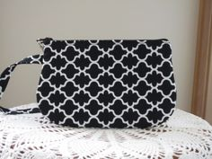Wedding Clutch Wristlet Zipper Gadget Purse Pouch in Black and White  Bridal - pinned by pin4etsy.com