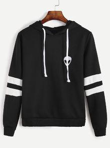Varsity Striped Alien Embroidery Hooded Sweatshirt