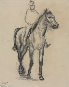 Edgar Degas >> Horse and Rider  |  (Drawing, artwork, reproduction, copy, painting).