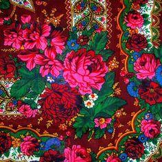 Polish Art Center - Folk Scarf/Shawl with Fringe - Maroon tattoo? Textiles, Textile Prints, Textile Patterns, Textile Design, Print Patterns, Floral Prints, Durga, Polish Folk Art, Russian Folk Art