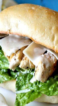 Damn Delicious, Chicken Caesar Ciabatta Sandwiches (make with Gardein) Ciabatta, Chicken Caesar Sandwich, Chicken Ceasar, Chicken Caesar Wrap, Ideas Sándwich, Wrap Sandwiches, Packed Lunch Sandwiches, Vegetarian Sandwiches, Gourmet Sandwiches
