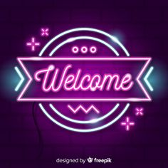 Modern welcome sign post with neon light style Free Vector Neon Wallpaper, Cute Wallpaper Backgrounds, Disney Wallpaper, Cute Wallpapers, Aesthetic Shirts, Blue Aesthetic, Neon Light Art, Stylish Kids Fashion, Neon Bedroom