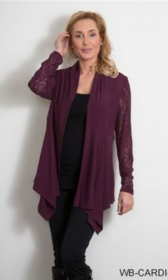 LACE SLEEVE TAILORED CARDIGAN