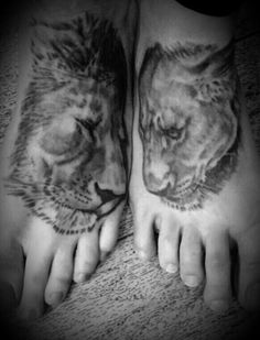 Amazing couples tattoo!!! Love this! #lions #couple #matching tattoos