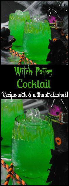 It wouldn't be Halloween if you didn't have a spooky drink. The Witch Potion Cocktail Recipe is the perfect addition to your party with or without alcohol! party drinks Witches Potion Cocktail Recipe With A Non-Alcoholic Option Halloween Party Drinks, Halloween Snacks, Halloween Decorations, Halloween Alcoholic Drinks, Halloween Punch Alcohol, Spooky Halloween, Halloween Punch Bowl, Halloween Shots, Holiday Drinks