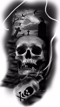 Mais de 100 Desenhos para Tatuagens Realistas | Tatuagens - Ideias Evil Skull Tattoo, Skull Tattoo Design, Skull Tattoos, Body Art Tattoos, Sleeve Tattoos, Tattoo Designs, Dark Art Tattoo, Tatoo Art, Tattoo Sketches
