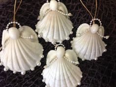Sea Snow Angels are handmade here at Sea Things in Ventura CA. Each Angel has a Beautiful White Scalloped Seashell. Arms are Pearl lines with a tiny Seashell. Seashell Christmas Ornaments, Coastal Christmas Decor, Christmas Crafts, Angel Ornaments, Christmas Trees, Nativity Ornaments, Seashell Projects, Seashell Crafts, Seashell Art