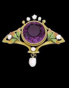 Art Nouveau enamel, amethyst and pearl brooch, circa 1905.