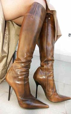 Sexy brown high heel knee boots