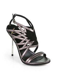 B Brian Atwood Marseille Artistic Metallic Leather & Snakeskin Sandals