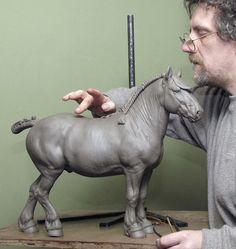 Suffolk Punch stallion - sculpture by Nick Bibby
