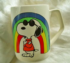 """Snoopy Joe Cool in front of rainbow Mug """"Actually, we Joe Cools are scared to death of chicks"""""""