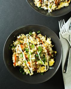 This three onion fried rice is the ultimate comfort food: crispy, egg-y, and onion-studded with crimson sriracha and silky mayo, it hits the spot!