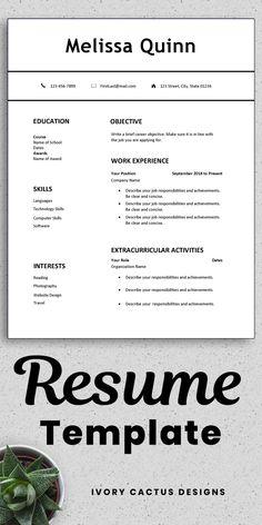 Lebenslauf-Vorlage für Schüler - Resume Templates For Students Job Resume Format, Job Resume Samples, Resume Layout, Resume Design, Design Design, Graphic Design, High School Resume Template, One Page Resume Template, Cv Template