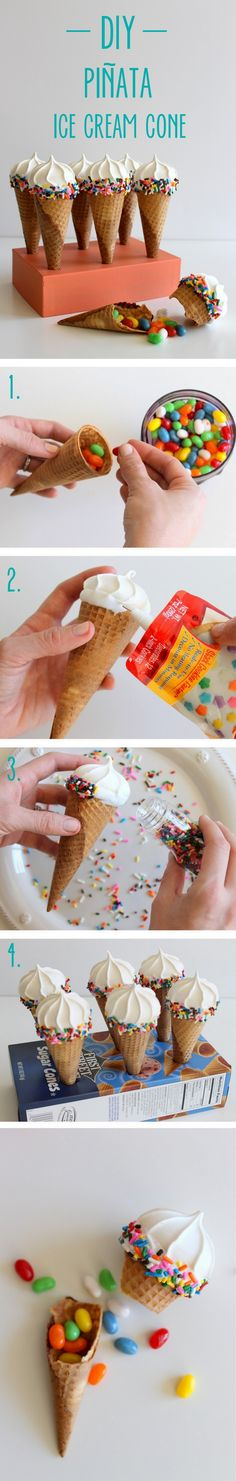 DIY Pinata Ice Cream Cone - I think maybe layered with sweets, mini meringue, chocolate mousse, then ice the mini meringue on top with icing and sprinkles - what a fab party treat! Ice Cream Party, Diy Ice Cream, Ice Cream Cones, Cupcake Cakes, Cupcakes, Festa Party, Partys, Cute Food, Creative Food