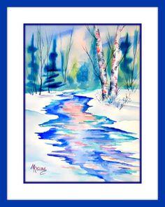 Watercolor Birch Trees Mountain Stream by MarthaKislingArt Beach Watercolor, Watercolor Sunflower, Watercolor Trees, Watercolor Paintings, Watercolors, Aspen Trees, Birch Trees, Pastel Sky, Southwestern Art