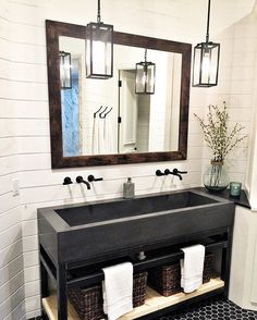 This amazing bathroom is from the concept home Shalia, Cherami (Urban Farmhouse . This amazing bathroom is from the concept home Shalia, Cherami (Urban Farmhouse owner), and I are w Modern Farmhouse Bathroom, Urban Farmhouse, Farmhouse Small, Rustic Farmhouse, Farmhouse Interior, Farmhouse Design, Farmhouse Ideas, Industrial Farmhouse, Rustic Wood
