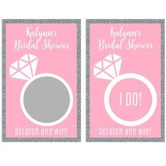 Bridal shower scratch off cards are a fun way to play a game at your bridal shower and give away prizes. to personalize today. Scratch Off Cards, Custom Candy, Candy Bar Wrappers, Baby Shower Games, Birthday Cards, Bridal Shower, Party, Fun, Wedding