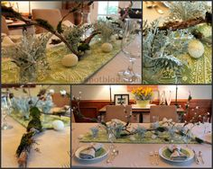 An Easter centerpiece using branches, moss and white flowers