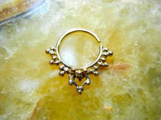Soma. Indian septum jewelry 14k Gold septum ring / nose / helix / forward helix / rook /diath / nipple ring / bellybutton ring