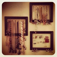 DIY Picture Frame Jewelry Organizers