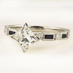 Platinum Vintage Sapphire and Diamond Ring