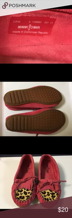 Minnetonka moccasins, size 3 Big Girl, hot pink. Hot pink leopard print fur/suede Minnetonka moccasins, size 3 big girl.  Worn once, almost perfect condition, no wear to soles. Minnetonka Shoes Moccasins