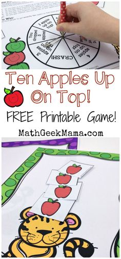 """Ten Apples Up On Top Math Game {FREE} This super cute printable math game is perfect to play with the book, """"Ten Apples Up On Top!"""" Kids can practice counting and adding and subtracting to Plus, it's a great way to combine math and reading! Printable Math Games, Free Math Games, Preschool Activities, Morning Activities, Time Activities, Printables, Free Printable, Kindergarten Math, Teaching Math"""