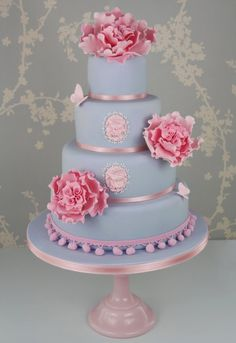Marie Antoinette pink and blue peony wedding cake, perfect for bride's cake or bridal shower cake Beautiful Wedding Cakes, Gorgeous Cakes, Pretty Cakes, Amazing Cakes, Unique Cakes, Creative Cakes, Super Torte, Just Cakes, Occasion Cakes
